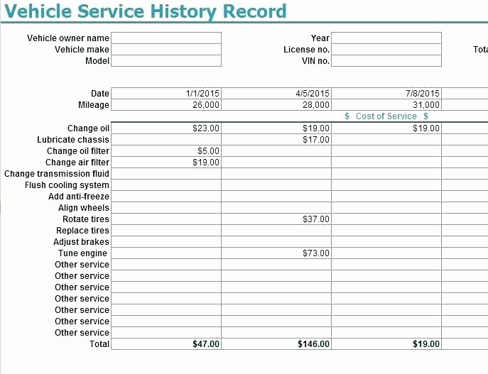 Vehicle Maintenance Schedule Template Excel Fresh Vehicle Service History Record Template My Excel Templates
