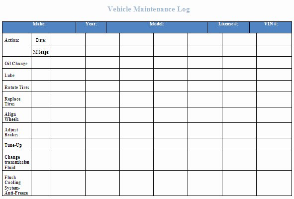 Vehicle Maintenance Schedule Template Excel Luxury Free Vehicle Maintenance Log Template for Excelml
