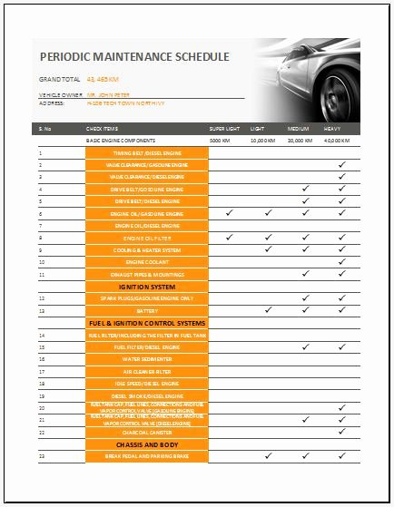 Vehicle Maintenance Schedule Template Excel Luxury General Vehicle Maintenance Checklist Template