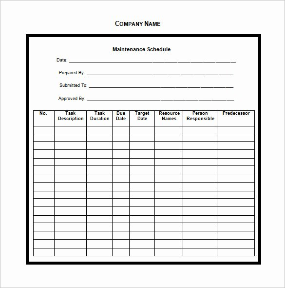 Vehicle Maintenance Schedule Template Excel New Vehicle Maintenance Schedule Templates 10 Free Word