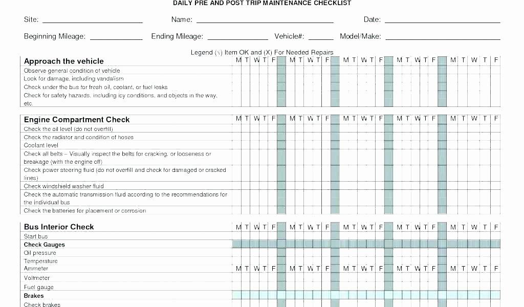 Vehicle Preventive Maintenance Schedule Template New Air Pressor Checklist Preventive Maintenance Truck
