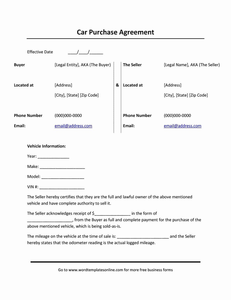 Vehicle Purchase order Template Best Of 42 Printable Vehicle Purchase Agreement Templates