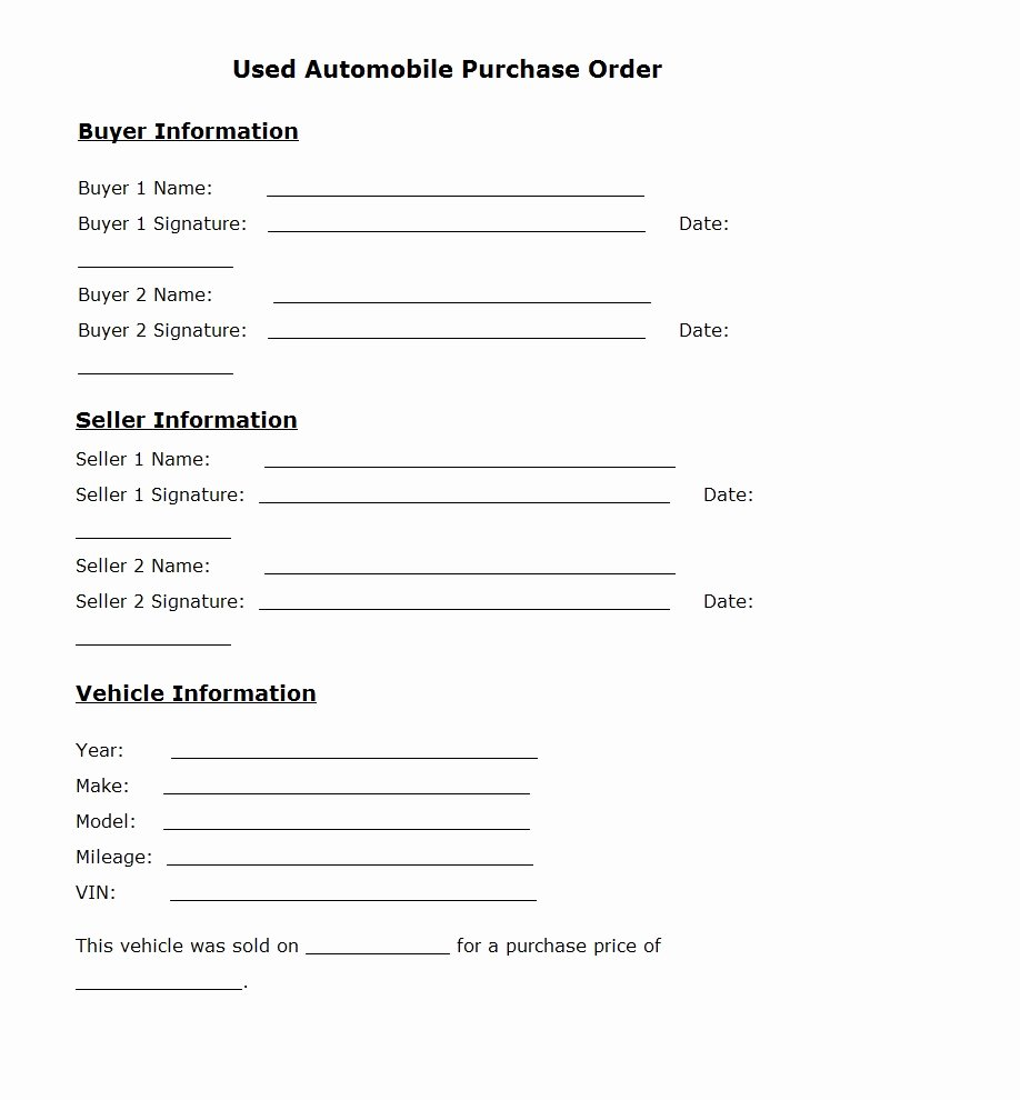 Vehicle Purchase order Template Inspirational Used Car Purchase order Template Sample