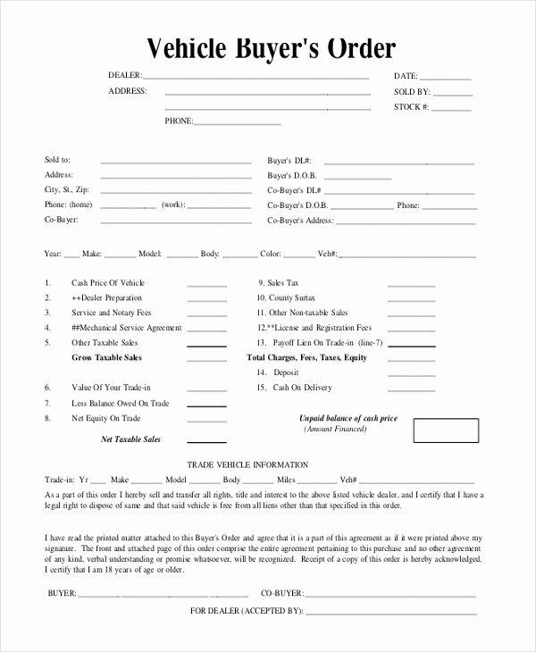 Vehicle Purchase order Template Luxury Sample Blank Purchase order form 11 Free Documents In