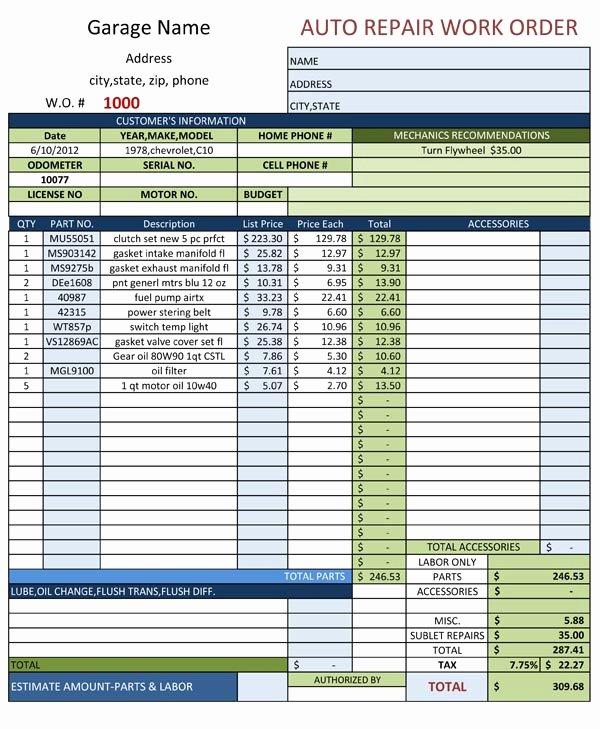 Vehicle Work order Template Elegant Auto Repair Work order Template