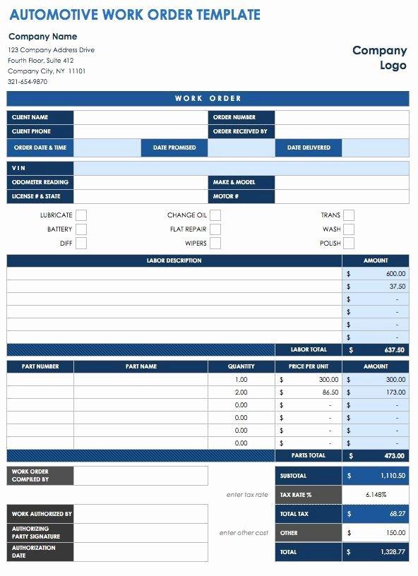 Vehicle Work order Template Fresh 40 Work order Template Free Download [word Excel Pdf]