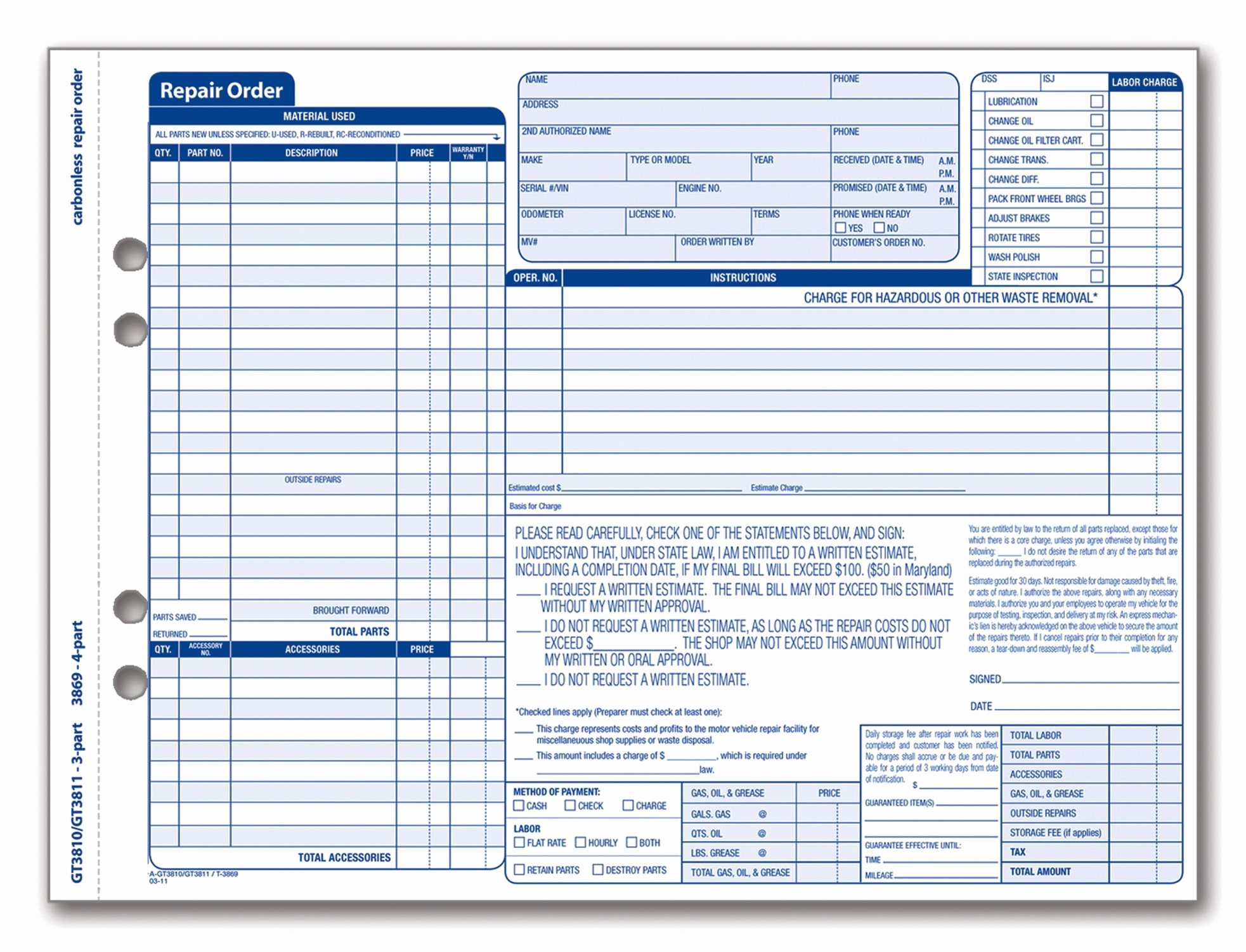 Vehicle Work order Template Fresh Adams Garage Repair order forms 8 5 X 11 44 Inches 3 Part