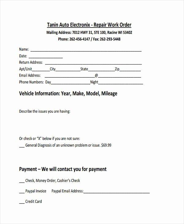Vehicle Work order Template Inspirational 17 Work order formats