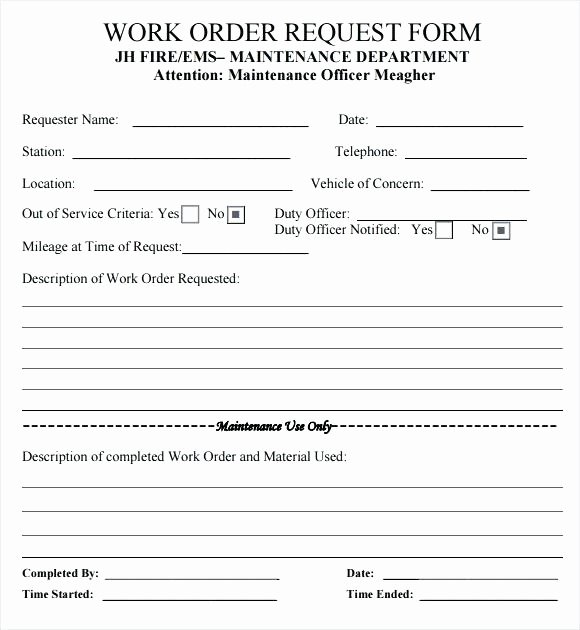 Vehicle Work order Template Lovely Creating Your Own Maintenance Work order Template Free