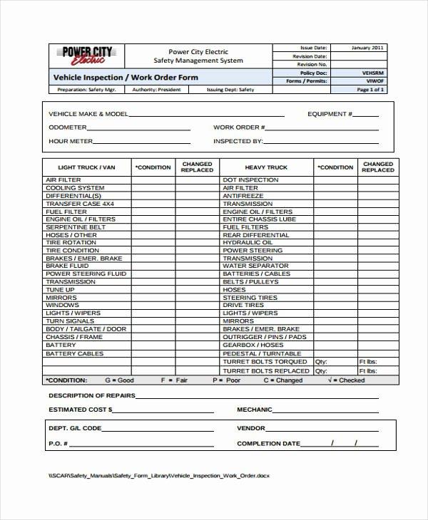 Vehicle Work order Template Luxury 20 Sample Work order forms