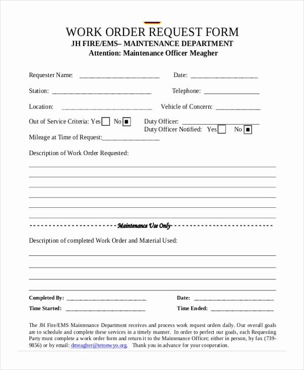 Vehicle Work order Template New 5 Maintenance Work order form Free Documents In Word Pdf