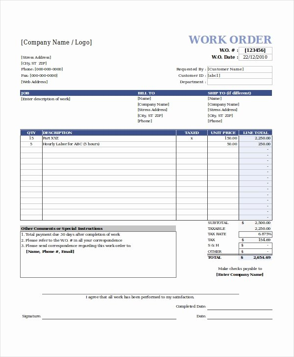 Vehicle Work order Template Unique Excel Work order Template 13 Free Excel Document