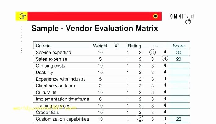 Vendor Scorecard Template Excel Elegant Vendor Evaluation form Creative Agency Supplier Free