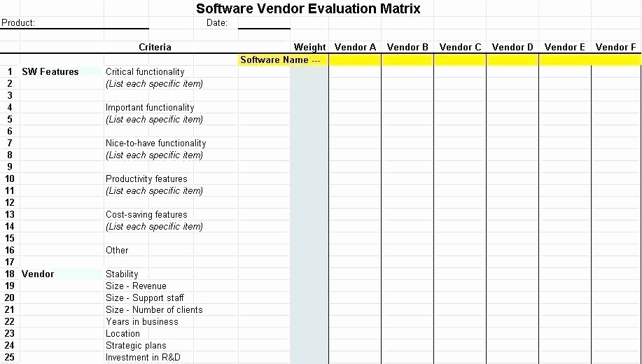 Vendor Scorecard Template Excel Inspirational Vendor Evaluation Selection Template Excel for Resume