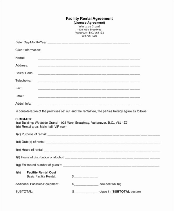 Venue Rental Agreement Template Awesome Sample Renters Agreement form 8 Free Documents In Pdf