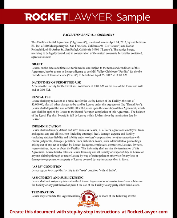 Venue Rental Agreement Template Best Of event Rental Agreement Template Facilities Rental Agreement