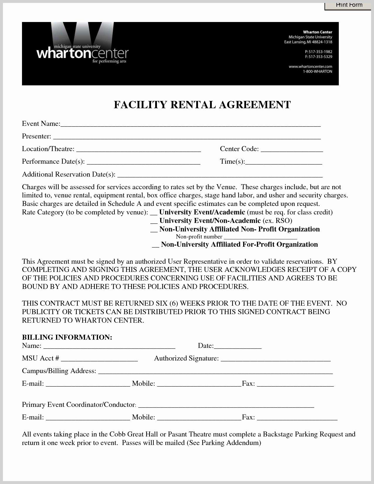 Venue Rental Agreement Template Best Of Venue Contract Template event Contract Template
