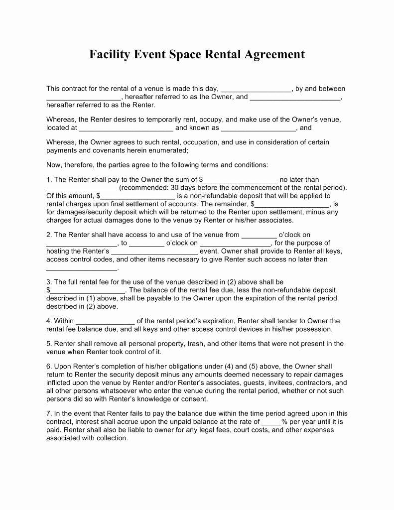 Venue Rental Agreement Template Inspirational event Venue Contract Template Templates Resume