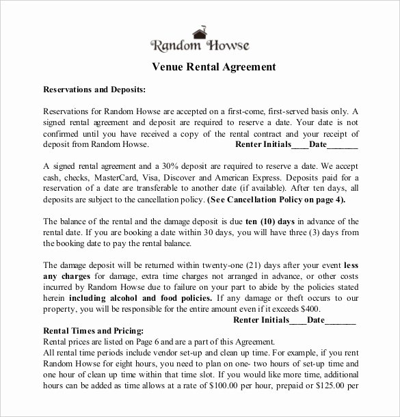Venue Rental Agreement Template Lovely 23 Wedding Contract Templates – Example Word Google Docs