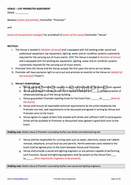 Venue Rental Agreement Template Luxury Promoter Venue Contract Template