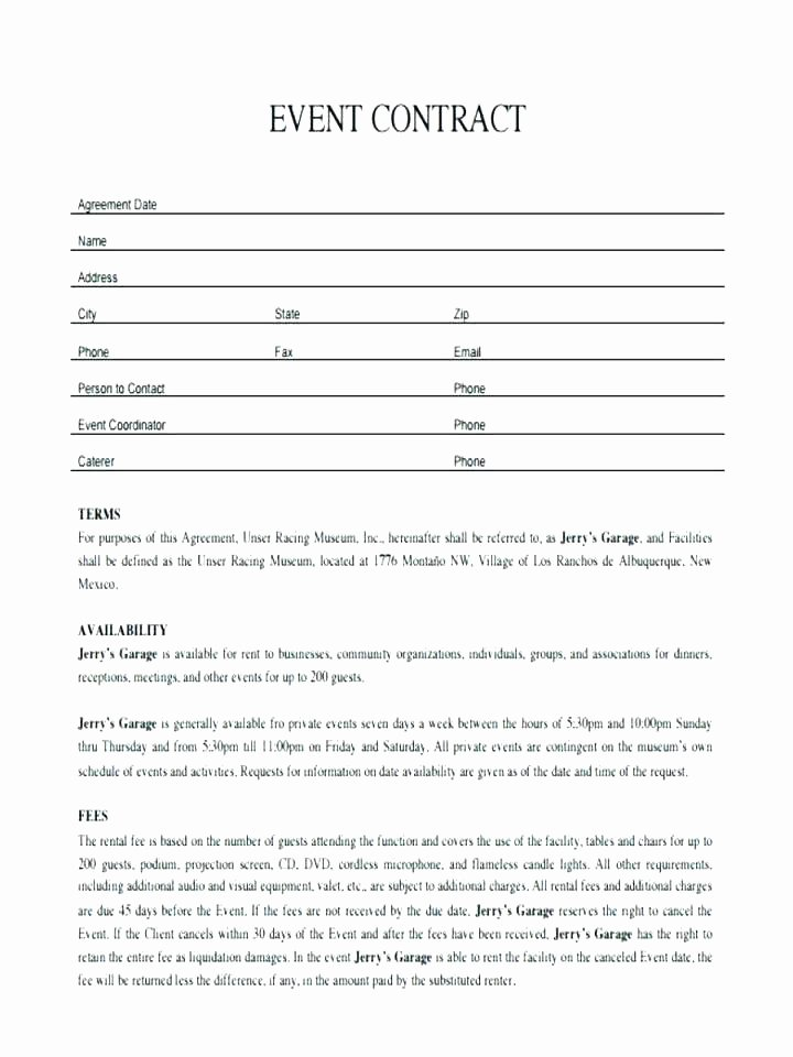 Venue Rental Agreement Template Unique Wedding event Contract Template Agreement Sample Beautiful