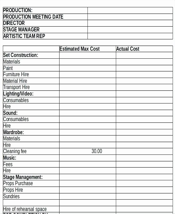 Video Production Budget Template Fresh 98 theatre Production Meeting Agenda Template Full Size