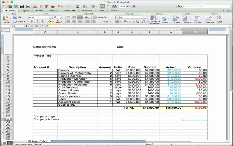 Video Production Budget Template Unique 5 Useful Microsoft Excel Templates for In Tv
