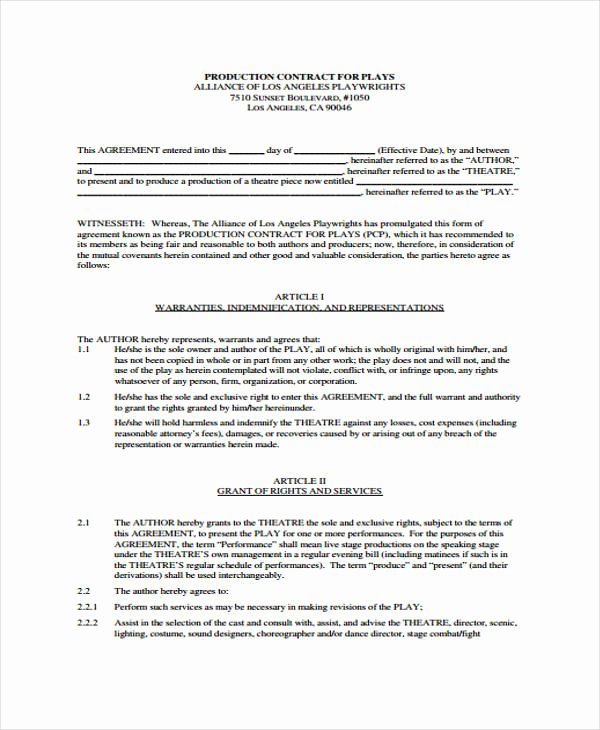 Video Production Contract Template Awesome Production Contract Templates 9 Free Word Pdf format