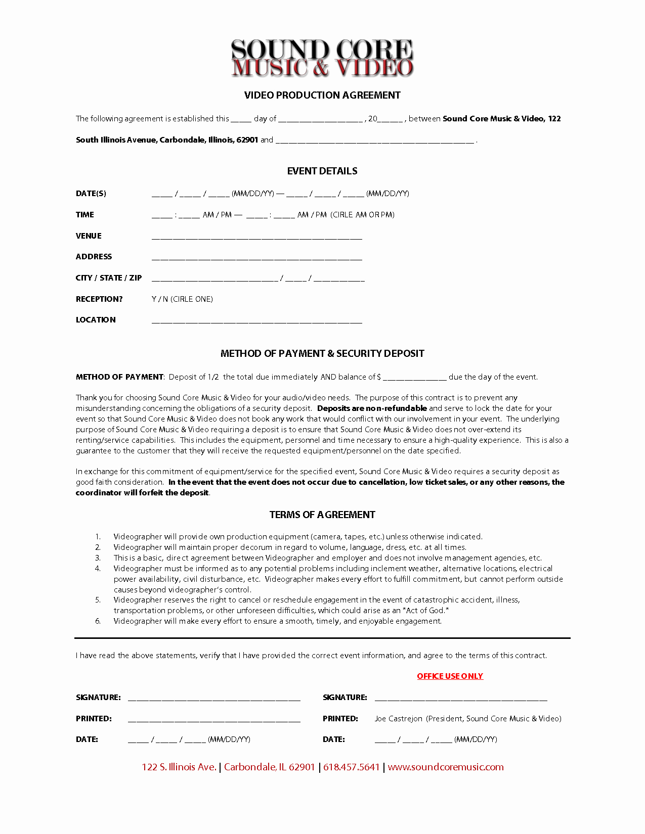 Video Production Contract Template Beautiful Video Production Contracts