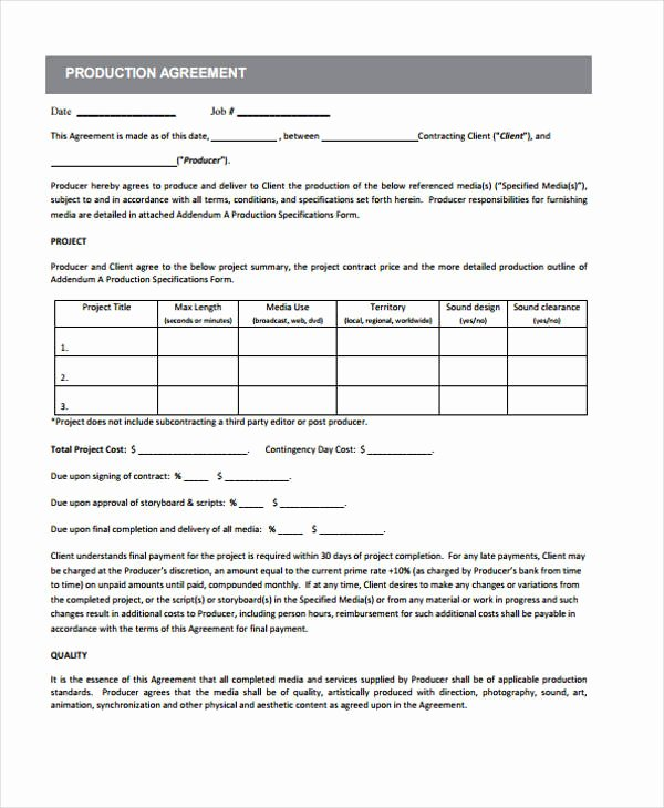 Video Production Contract Template Elegant 10 Production Contract Templates Sample Example