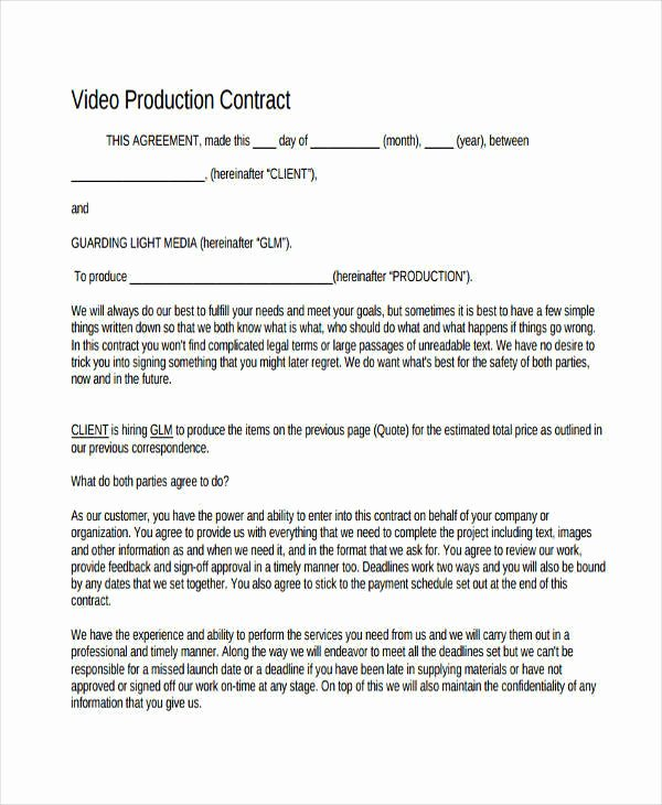 Video Production Contract Template Elegant 7 Production Contract Samples & Templates