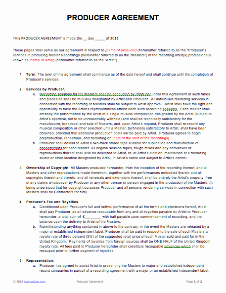 Video Production Contract Template Fresh Music Producer Agreement