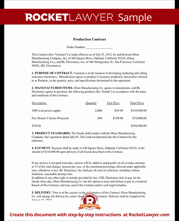 Video Production Contract Template Inspirational Production Agreement Production Contract Template with