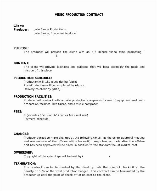 Video Production Contract Template Lovely 5 Production Contract Samples & Templates