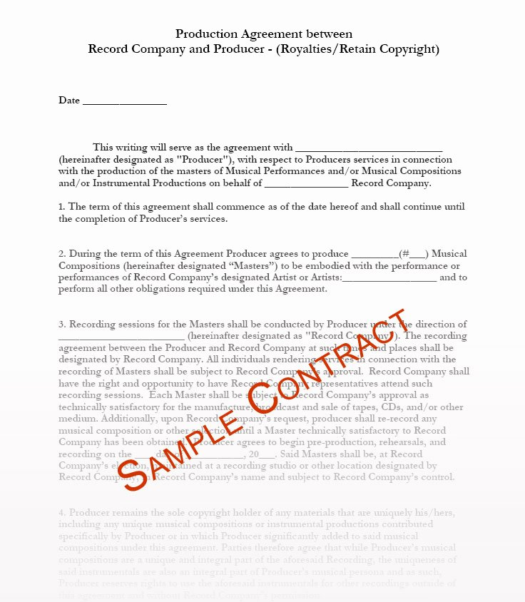 Video Production Contract Template Luxury Music Producer Agreement