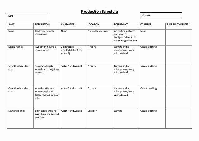 Video Production Plan Template Beautiful Production Schedule Template