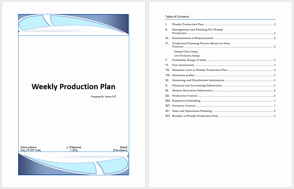 Video Production Plan Template Best Of Weekly Production Plan Template Microsoft Word Templates