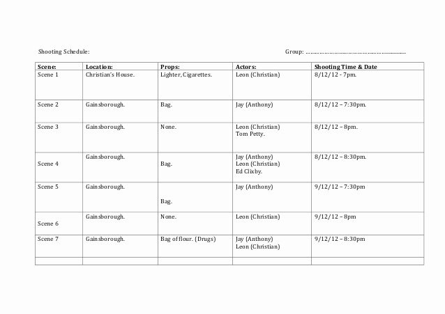 Video Production Plan Template Fresh Shooting Schedule Template