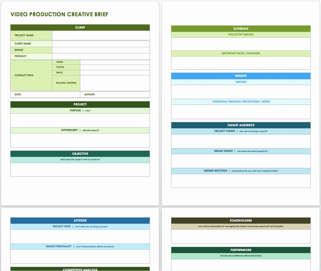 Video Production Plan Template Inspirational Free Creative Brief Templates Smartsheet