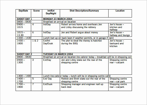 Video Production Plan Template New 11 Shooting Schedule Templates Pdf Doc