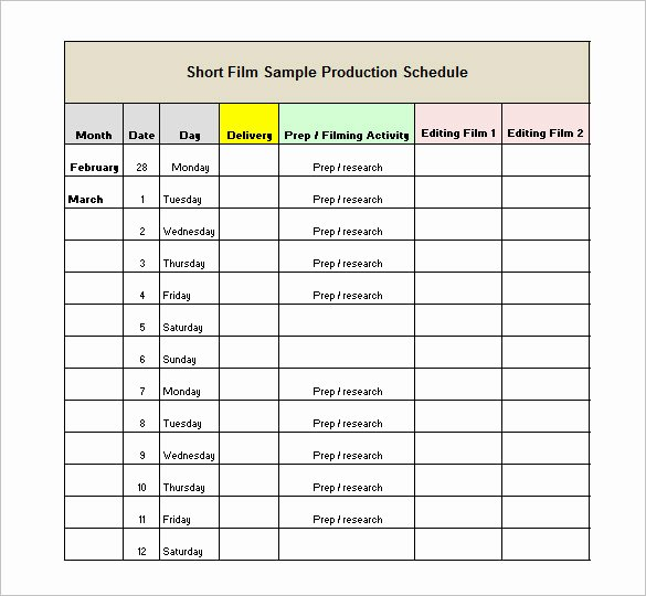 Video Production Schedule Template Best Of 13 Production Schedule Templates Pdf Doc