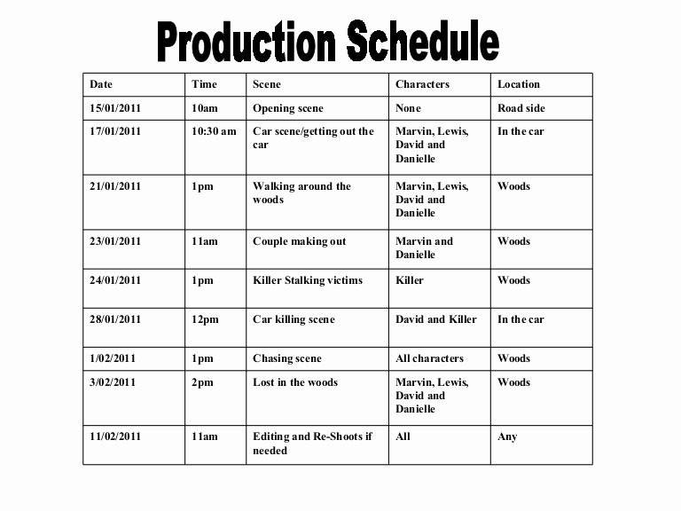 Video Production Schedule Template Fresh Production Schedule