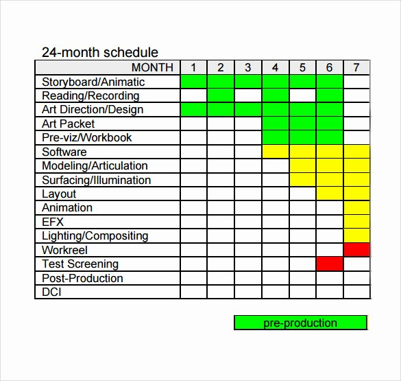 sample production schedule template