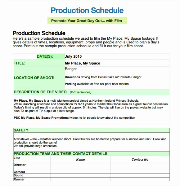 Video Production Schedule Template Lovely Sample Shooting Schedule 12 Documents In Pdf Word Excel