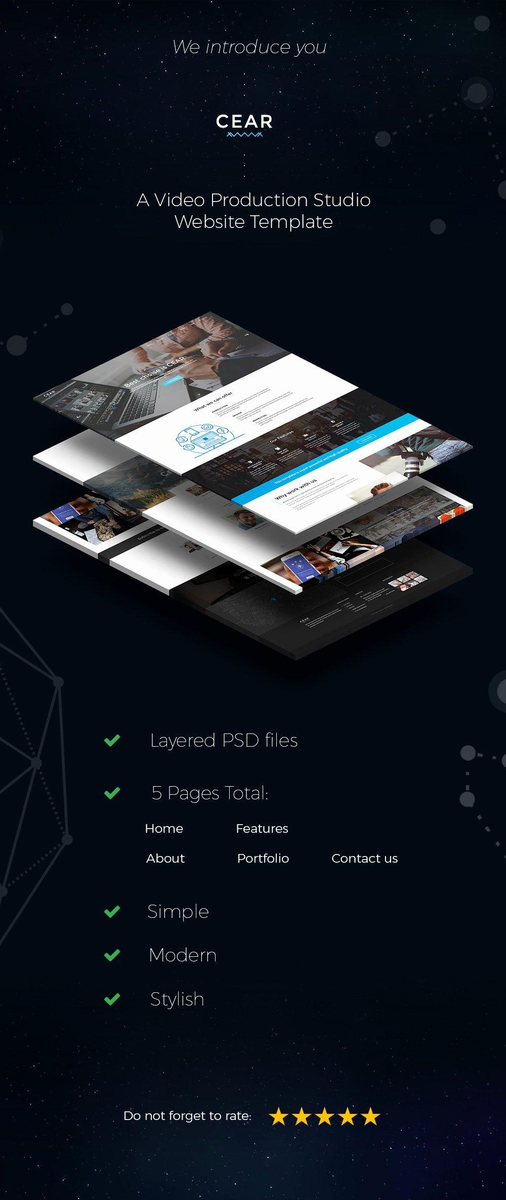 Video Production Web Template Elegant Cear Video Production Website Psd Template by Quietlab