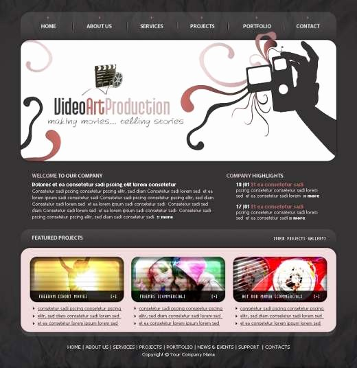 Video Production Web Template Inspirational Video Art Production Web Template Templatesbox