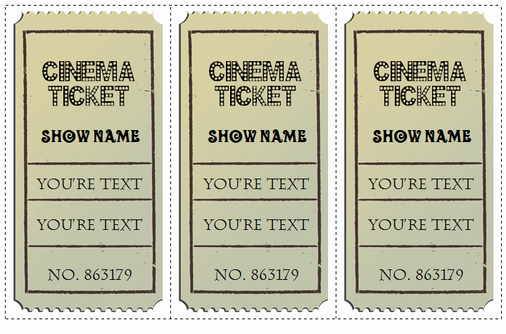 Vintage Movie Ticket Template Elegant 6 Movie Ticket Templates to Design Customized Tickets