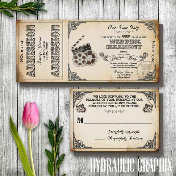 Vintage Movie Ticket Template Elegant Vintage Mariage Billet Invitation Invitation Ticket