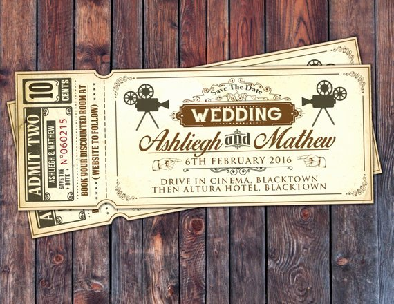 Vintage Movie Ticket Template Lovely Art Decovintage Retro Save the Date Ticket Announcement