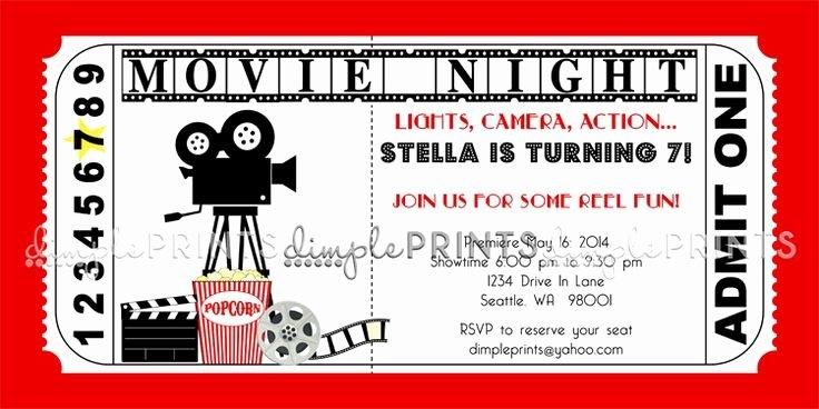 Vintage Movie Ticket Template New Movie Ticket Birthday Invitations Ideas – Bagvania Free